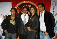 Actors Shreyas Talpade, Shah Rukh Khan, Deepika Padukone and Arjun Rampal at a London photocall for