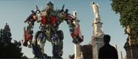Autobot Optimus Prime and Shia LaBeouf as Sam Witwicky in