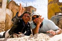 Shia LaBeouf and Director/Executive Producer Michael Bay on the set of