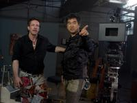 Author Clive Barker and director Ryuhei Kitamura on the set of