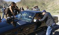 Michelle Rodriguez, Vin Diesel and Director Justin Lin on the set of