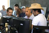 Paul Walker, Vin Diesel and Director Justin Lin on the set of