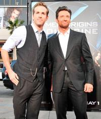 Ryan Reynolds and Hugh Jackman at the California premiere of