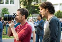 Directors Ethan and Joel Coen on the set of