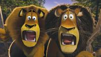 Alex the lion (Ben Stiller) and his father, alpha lion Zuba (Bernie Mac) in