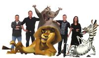 Directors Eric Darnell and Tom Mcgrath; Alex the lion (seated, as voiced by Ben Stiller); Gloria the hippo (standing, as voiced by Jada Pinkett Smith); Producers Mark Swift and Mireille Soria; and Marty the zebra (as voiced by Chris Rock) in