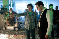 Director Michel Gondry and Seth Rogen on the set of