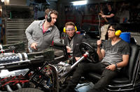 Director Michel Gondry, Seth Rogen and Jay Chou on the set of