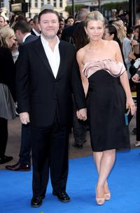 Ricky Gervais and Jane Fallon at the London premiere of