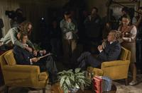 Michael Sheen, Director/Producer Ron Howard and Frank Langella on the set of