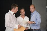 Producer Peter Morgan, Producer Brian Grazer and Producer Eric Fellner on the set of