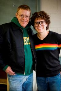 Real-life gay rights activist Cleve Jones and Emile Hirsch on the set of