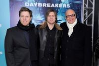 Peter Spierig, Michael Spierig and Chris Brown at the New York premiere of