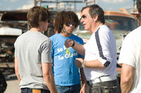 Zac Efron, Corbin Bleu and Kenny Ortega on the set of