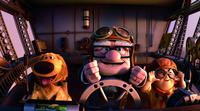 Dug, Carl Fredricksen and Russell in