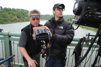 3-D Stereographer Max Penner and Director of Photography Brian Pearson on the set of