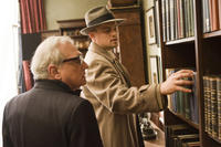 Director Martin Scorsese and Leonardo DiCaprio on the set of