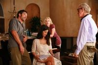 Javier Bardem, Penelope Cruz, Scarlett Johansson and Woody Allen on the set of