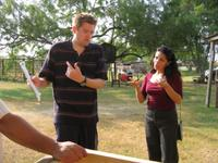 Director Chris Eska and Sandra Rios on the set of