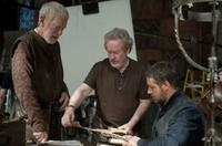 Max von Sydow, director/producer Ridley Scott and Russell Crowe on the set of