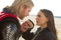 Chris Hemsworth as Thor and Natalie Portman as Jane Foster in