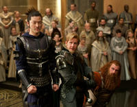 Tadanobu Asano as Hogun, Joshua Dallas as Fandral and Ray Stevenson as Volstagg in