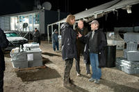 Chris Hemsworth, Stellan Skarsgard and Director Kenneth Branagh on the set of