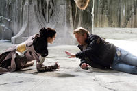 Jaimie Alexander and director Kenneth Branagh on the set of