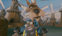 Wolf voiced by Patrick Warburton and Twitchy voiced by Cory Edwards in