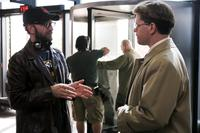Director Steven Soderbergh and Matt Damon on the set of