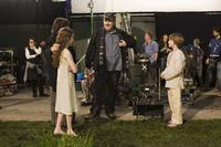 Lara Robinson, Director Alex Proyas and Chandler Canterbury on the set of