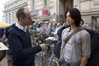 Director James McTeigue and Rain on the set of