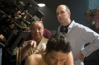 Randall Duk Kim and director James McTeigue on the set of
