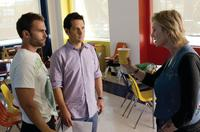 Seann William Scott as Wheeler, Paul Rudd as Danny and Jane Lynch as Sweeny in