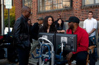Robbie Jones, Jurnee Smollett-Bell and Director Tyler Perry on the set of