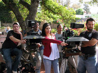 Director Anne-Sophie Dutoit on the set of