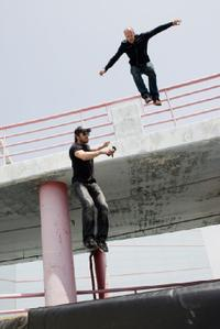 Director Mark Neveldine and Jason Statham on the set of
