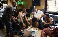 Mike Epps, Wood Harris, Director Benny Boom and Malik Barnhardt on the set of