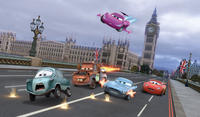 Professor Z voiced by Thomas Kretschmann, Mater voiced by Larry the Cable Guy, Holley Shiftwell voiced by Emily Mortimer, Finn McMissile voiced by Michael Caine, Lightning McQueen voiced by Owen Wilson in