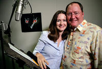 Emily Mortimer and John Lasseter on the set of