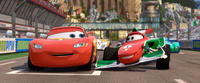 Lightning McQueen voiced by Owen Wilson and Francesco Bernoulli voiced by John Turturro in
