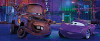 Mater voiced by Larry the Cable Guy and Holley Shiftwell voiced by Emily Mortimer in