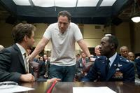 Robert Downey Jr. , Jon Favreau and Don Cheadle on the set of
