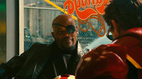 Samuel L. Jackson as Nick Fury and Robert Downey, Jr. as Tony Stark in