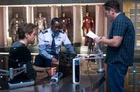 Robert Downey Jr., Don Cheadle and director/executive producer Jon Favreau on the set of