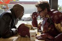 Samuel L. Jackson as Nick Fury and Robert Downey Jr. as Tony Stark in