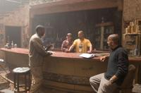 Denzel Washington, Don Burgess, Director Albert Hughes and Director Allen Hughes on the set of