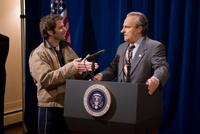 Director Zack Snyder and Robert Wisden as President Nixon on the set of
