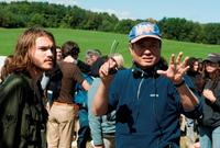Director Ang Lee and Emile Hirsch on the set of