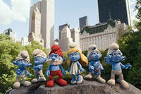 Clumsy Smurf, Grouchy Smurf, Papa Smurf, Smurfette Smurf, Gutsy Smurf and Brainy Smurf in ``The Smurfs.''